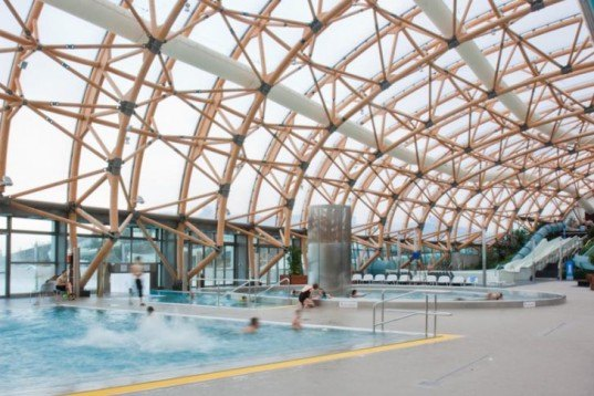 social design,Landscape Architecture,green roof designs,Green Materials,Architecture,Vitam'Parc,health and leisure center,france,geneva,spanish design,L35 architects,ETFE membrane,recycled aluminum,natural light,uv light,swimming pool,shopping center,health