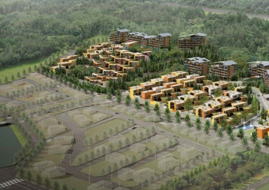 green design, eco design, sustainable design, Korea National Housing Competition, Mack Architects, Seoul, Pan Gyo Housing project, sustainable housing complex, green roof, natural ventilation