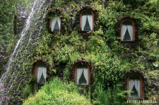 green building design, green hotel, Magic Mountain Lodge, eco resort, hot tub in stump,Hulio Hulio preserve, Chile green building,Patagonia hotel, green roof, water spout,