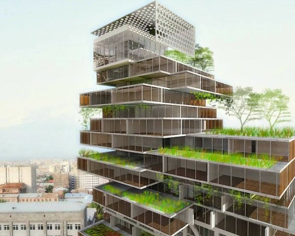 Mercedes Benz Business Center, HTDStudio, yerevan, armenia, mixed use development, green roof, stacked high rise