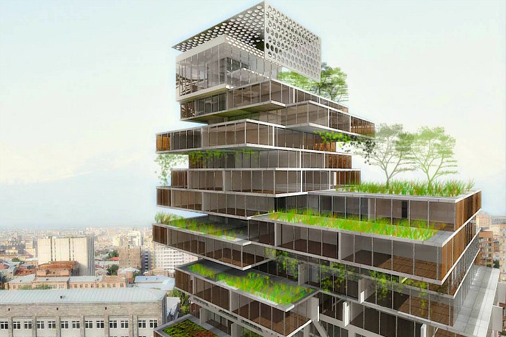Mercedes Benz Business Center Is A Stacked Green Roofed High Rise Concept For Yerevan on Zero Energy Building