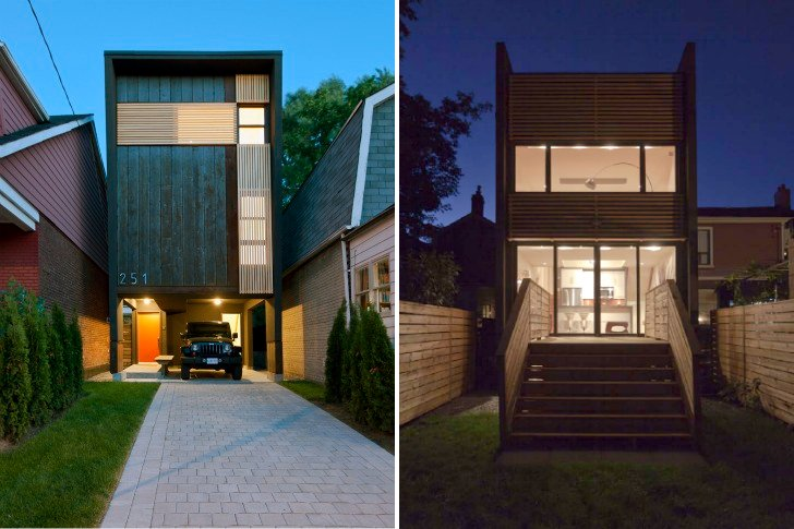 Toronto 39 s shaft house maximizes space daylight on a snug Skinny block house designs