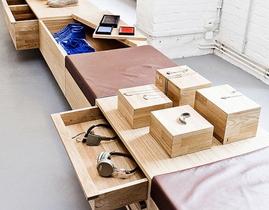 green design, eco design, sustainable design, Berlin, Sigurd Larsen Architects, K-MB Creative Network, industrial space, storage drawers, swing wall