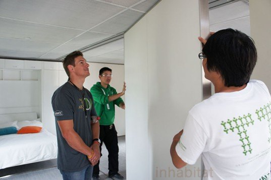 solar decathlon Team China, 2011 solar decathlon, Tonji University solar decathlon, green home, container house, china container house, Solar array shading, eco house, Y Container, Phase change walls, Vacuum insulated panels, solar hot water,
