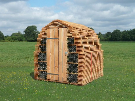 reused shed, caue sarthe, Véronique Maire, Arche de la Nature, bottle house, bottle shed,garden shed, shed design, tiny shed design, micro shed,