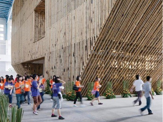 temporary green building design,green building materials,Taiwan green building, Gateway Park,Stan Allen Architect, eco rennovation, bamboo gallery,bamboo architecture,