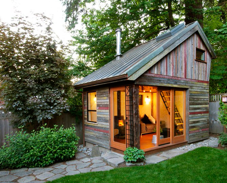 Home Backyard rustic and beautiful backyard micro-house is built from recycled