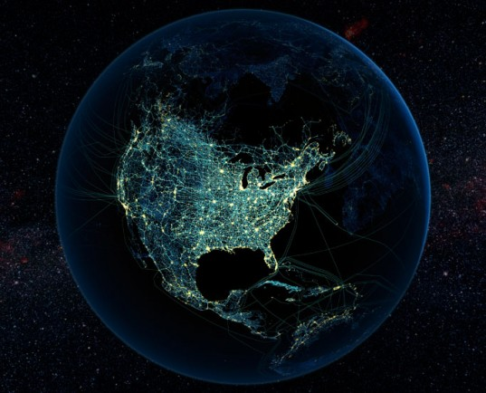 global transport links, global energy links, global flight routes, global satellite images, earth satellite images, Satellite images of Earth show roads, air traffic, cities at night and internet cables, Felix Pharand Deschenes