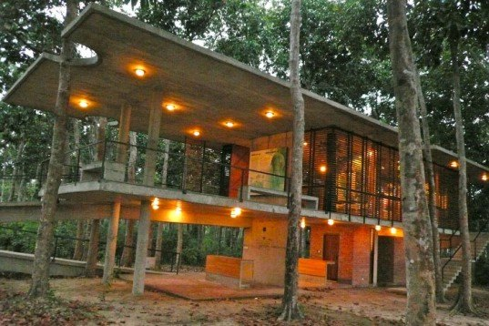 Eco Travel,Botanical,Architecture,bangladesh,eco-turism,holed roof,pierced roof,environmental center,elevated cement construction,concrete