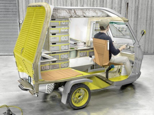 bufalino camper, cornelius commans, minature camper, piaggio tricycle, german design camper, industrial design, green vehicle design