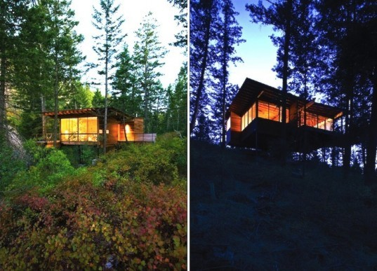 Andersson Wise, Andersson Wise Architects, cabin, minimalist, Montana, Rocky Mountains, Flathead Lake, green design, sustainable design, eco-design, daylighting, zero heating, zero cooling, recycled materials, timber, ponderosa pines