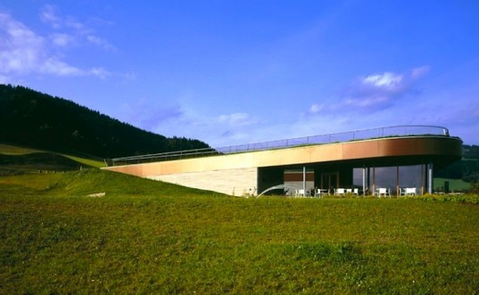 X Architekten, Austria, St. Oswald Clubhouse, heat exchange, harvest thermal waste,green roof, golf club, zero energy, green design, sustainable design, eco-design, pesticide free, natural landscaping