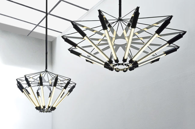 Zmiks kroon led pendant lamp will mesmerize any modernist the chandeliers blooming shape is made from 12 lighting strips connected to a polished spoked chrome wheel and two rings by moving the rings the shape of aloadofball Images