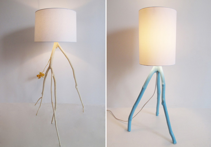 Meghan finkel creates spindly sustainable lamps from fallen tree branches