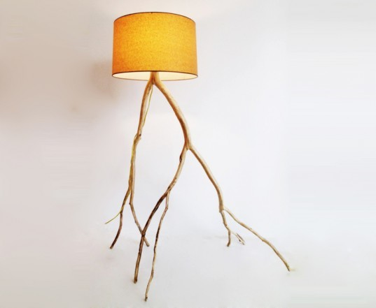 branch lamps, tree lamps, tree branch lamps, sustainable lamps, green lamps, green lighting, Meghan Finkel, handmade lamps