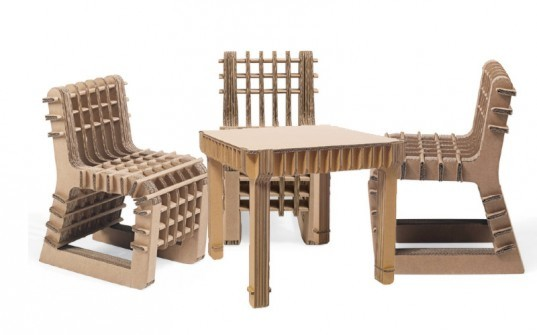 Philippe Nigros Build Up Childs Chair And Table Is Made Out Of Cardboard