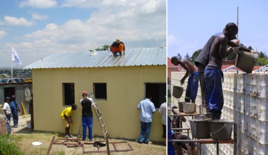 Plastic Formwork system, housing South Africa, low cost housing, eco architecture, disaster relief housing, homeless shelter, housing crisis, urban housing crisis, rapid urbanization, locally sourced materials