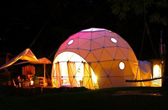 The Dome Garden, geodesic domes, eco-tourism, eco-travel, wood burner, locally sourced materials, recycled glass, London, England, glamping, camping, green design, sustainable design, eco-design, solar panels, dome tents, insulation, rainwater harvesting