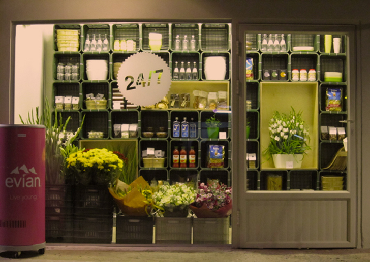 Studio 200404 designs a modular stop and shop for zerim for Flower shop design layouts
