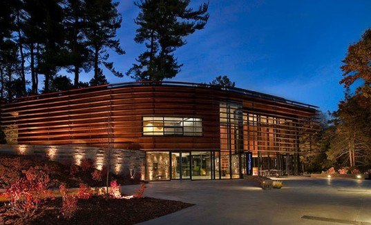 green design, eco design, sustainable design, LEED certification, Baird Sampson Neuert Architects, High efficiency water Fixtures, Recycling programs, louver system, solar thermal panels, Cornell University Plantations Welcome Center