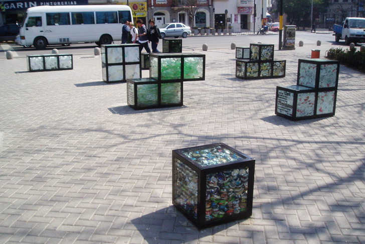 Tetris shaped trash filled street furniture encourages for Recycled building materials los angeles