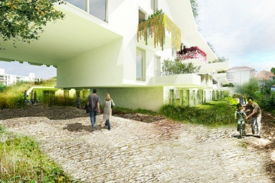 Green Roofed Apartments, OFF Architecture, terraced apartments, green roof, logements anglet, anglet, france