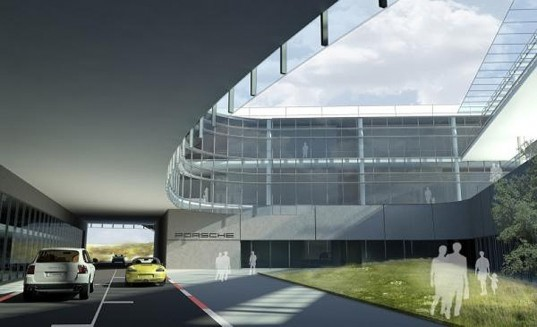 green design, eco design, sustainable design, HOK Architects, Porsche North American Headquarters, Atlanta, LEEd Silver Certification, green roof, Atlanta Airport, interior courtyard, rainwater filter