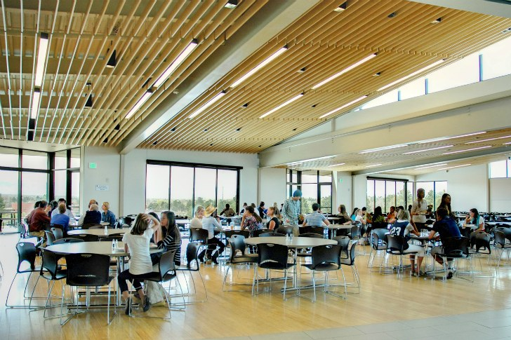 Leed platinum kent denver dining hall provides a holistic for Hall to dining designs