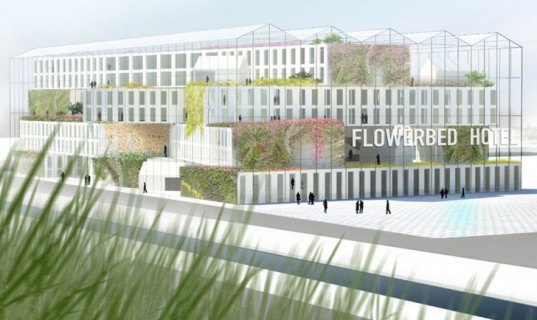 green design, eco design, sustainable design, MVRDV, Bloomin' Holland, Aalsmeer, Netherlands, FLowerbed Hotel, Greenhouse hotel, solar panel, wind power, living walls, indoor public garden
