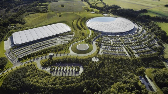 green design, eco design, sustainable design, David Cameron, Foster and Partners, McLaren Production Centre, submerged building, green roof, photovoltaic panels, rainwater collection system, England, assembly line, automotive factory
