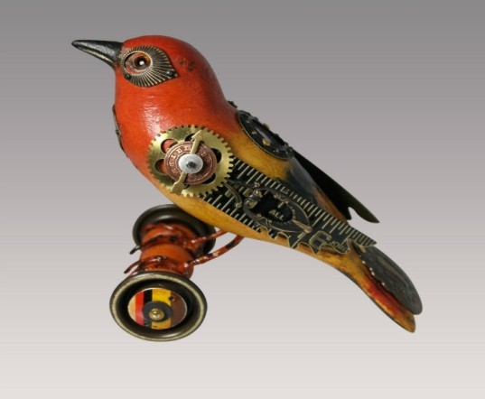 jim and tori, songbirds, decorative birds, bird sculptures, recycled object birds, found object design, bird decorations, old toy design