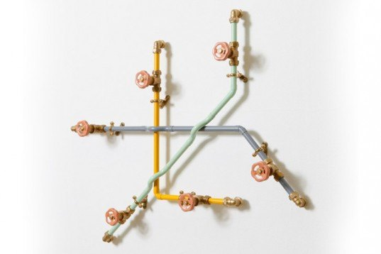 Green Products,Green Home decor,Green Materials,Decorative Objects,DIY,British design,pipeworks,recycled pipe,memphis collective,pastel colors,pipes coat hanger