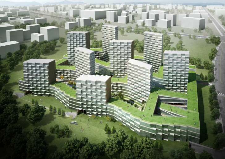 Nine Dragons Housing Complex Is A Green Roofed Residential