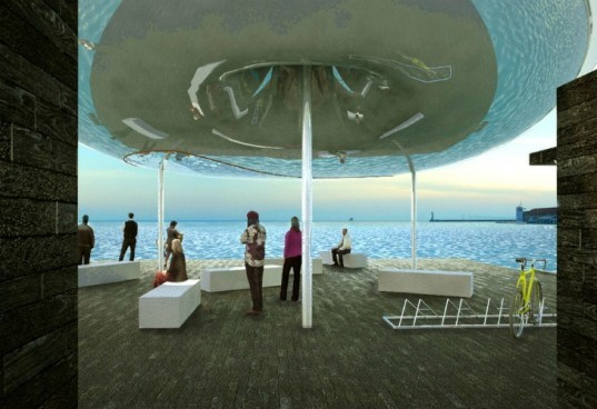 Thessaloniki Piers, Giannikis SHOP, self sufficient, solar energy, rainwater harvesting, greece, pavilion