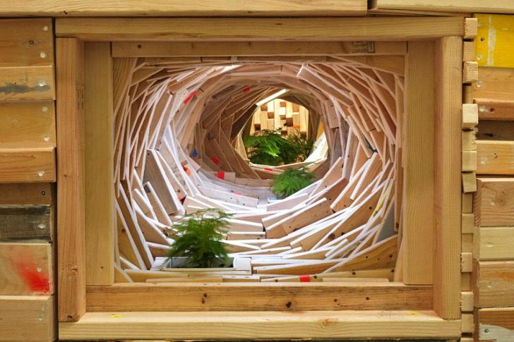 Phoebe Washburns Mind Boggling Installations Are Made From Scrap Wood Cardboard