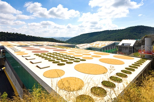 World Production, Energy and Recycling building, World Architecture Festival, Batlle i Roig, Waste treatment plan, landfill, environmental degradation, green design, sustainable design, eco design, green design, water treatment, skylights, green roof, crop circles, geometric design, Spain