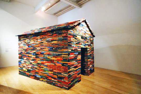 cardiff miller, book art, this house of books has no windows, literature building, library art concept, Modern Art Oxford and the Fruitmarket Gallery, book construction