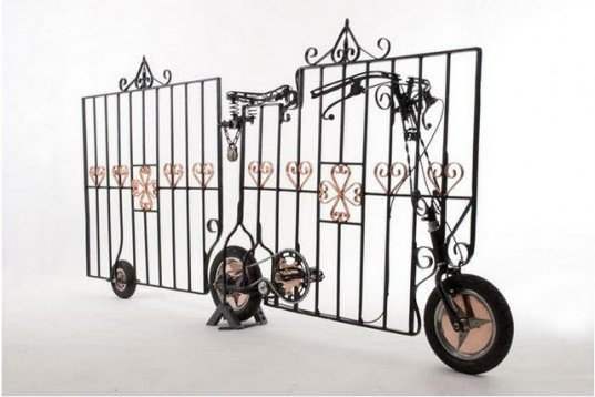 saatchi art, bicycle art, locked gate bicycle, stephen williams, weird art, inventive bicycles