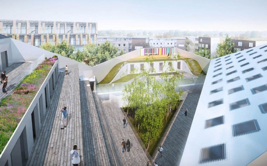 architecture, green design, eco design, sustainable design, lille, france, jds architects, jds, youth center, youth community center, recycled materials, solar panels, multi-function building, eco building, green building, sustainable building