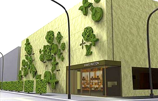 green design, eco design, sustainable design, Louis Vuitton, Gas Design Group, Gregory Polleta, SUng Yang, living wall, Topiade, Topiary facade