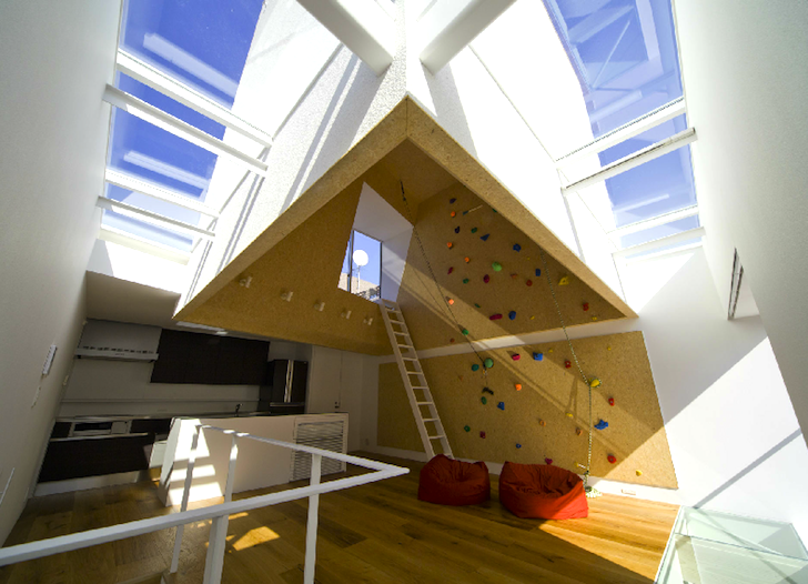 Super Slim Outdoors Indoors Home In Japan Is Capped With A Rock Climbing  Wall