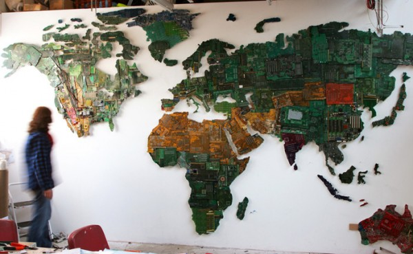 Recycled computers and motherboards transformed into a massive world a massive world map design gumiabroncs Choice Image