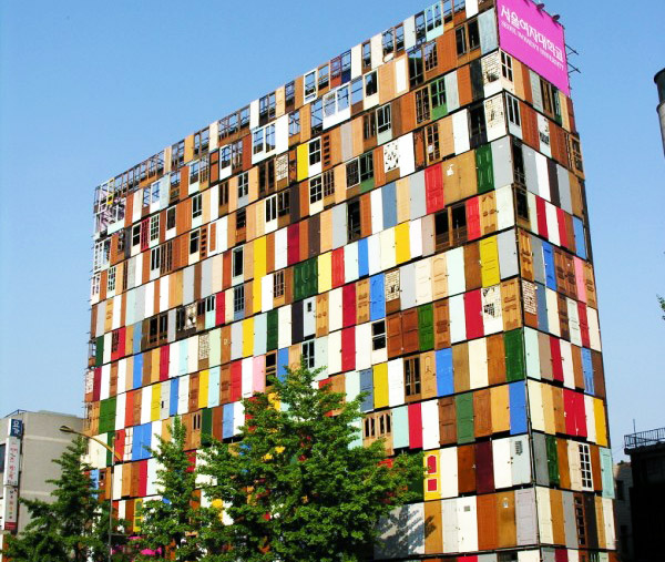 Architecture  sc 1 st  Inhabitat & 1000 Recycled Doors Transform the Facade of a 10-Story Building in ...