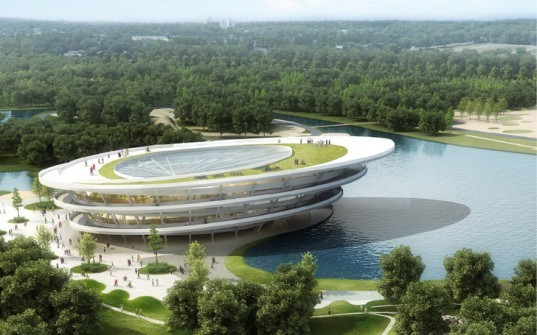 bike city, chongming bike park, JDS architects, spiraling bike park design, chinese bicycle city