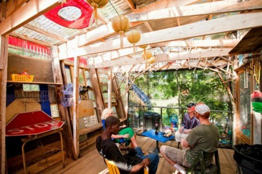 Burton Street Community, peace gardens, Asheville Design Center, student project, pavilion, recycled materials, found objects
