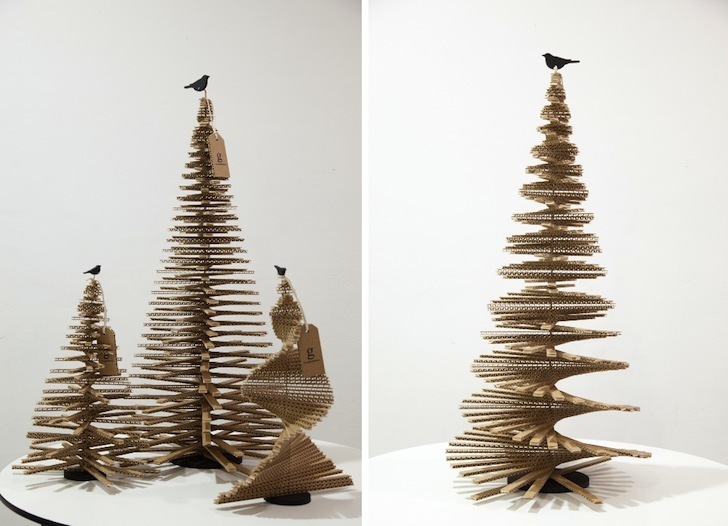 Giles Miller, World's Tallest Cardboard Christmas Tree, London, Design Museum London, cardboard, green holidays, green holiday gift guide, green materials, eco-design, green design, daniel heath, guinness book of world records, sustainable design