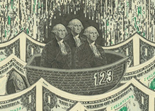 green design, eco design, sustainable design, Mark Wagner, recycled art, money collage, paper collage George Washington collage, dollar collage