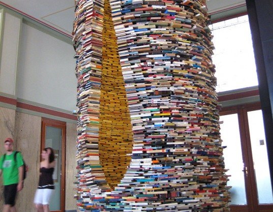 green design, eco design, sustainable design, Prague Municipal Library, Matej Kren, repurposed book tower, recycled books, book sculpture, Idiom, recycle art