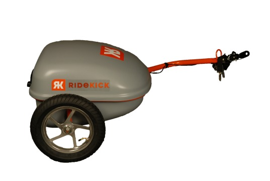 ridekick, electric trailer, attachable bike trailer, electric motor driven trailer, transport alternative to car, electric bicycle