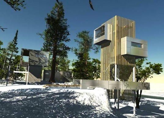 Baumraum, tree houses, cliff house, tower, green design, sustainable design, Schrems Treehouse Resort, Austria, Schrems Naturpark, eco design, sustainable design, eco-tourism, nature, lake, quarry, birch, pine, natural materials